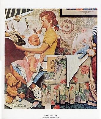 $ CDN19.99 • Buy Norman Rockwell Hair Pulling Print THE BABY SITTER