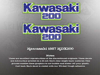 AU45.10 • Buy Kawasaki 1987 Kdx200 Tank Decals Graphics