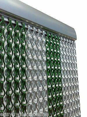 Metal Chain FLY Pest INSECT DOOR SCREEN CURTAIN Control EU Made Green Silver • 75.99£