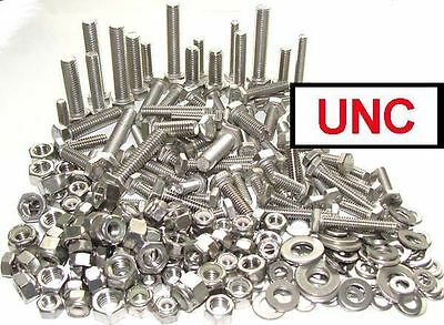£29.97 • Buy Stainless UNC Bolts / Set Screws, Nuts & Washers (Hex Head 1/4, 5/16, 3/8) X200+