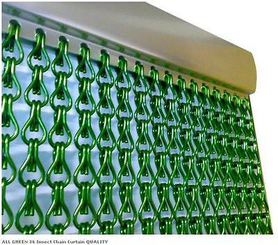 SQUID EU Metal Chain FLY INSECT DOOR SCREEN CURTAIN ALL GREEN Extra LONG • 74.99£