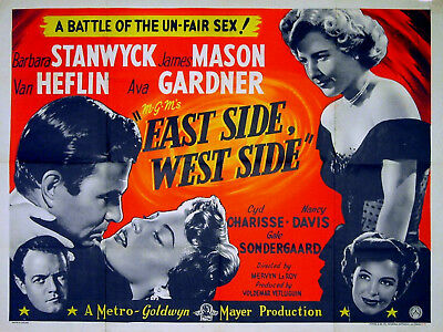 EAST SIDE, WEST SIDE 1949 James Mason, Barbara Stanwyck, Ava Gardner UK QUAD • 750£