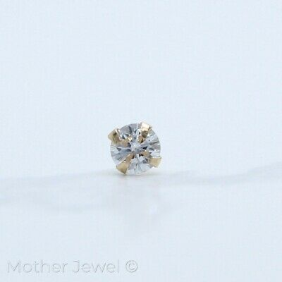 AU21.99 • Buy Genuine 22g Real 9k Solid Gold 3mm Simulated Diamond Nose Piercing Stud Ring