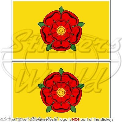 LANCASHIRE Flag Red Rose Of Lancaster UK 75mm(3 ) Bumper Stickers, Decals X2 • 3.48£