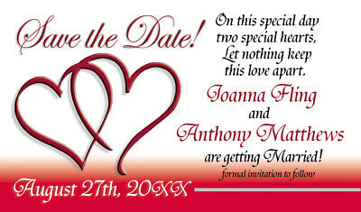 AU57.35 • Buy Save The Date Wedding Invitation Magnets Hearts Theme
