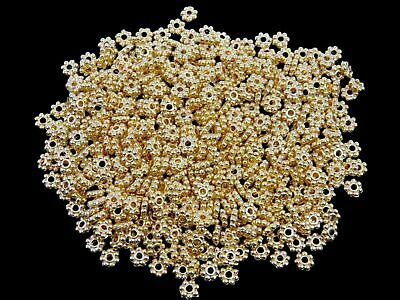 £1.79 • Buy 100 Pcs - 5mm Gold Plated Daisy Spacer Beads Jewellery Craft Beading Finding D22