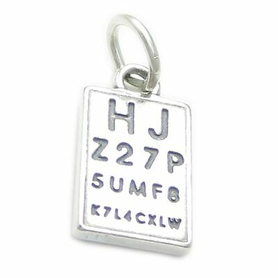 Eye Chart Eyesight Test Sterling Silver Charm .925 X 1 Charms Optician • 13.80£