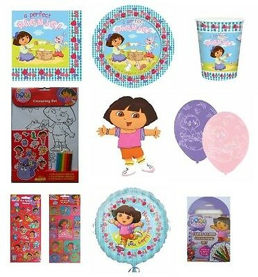 DORA THE EXPLORER Birthday Party Range (Amscan/Blue) Tableware/Balloons/Stickers • 1.99£
