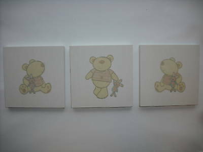 3 Nursery Nuetral Baby Child Room I Love My Bear Babies R Us Wall Hangings Cream • 9.95£