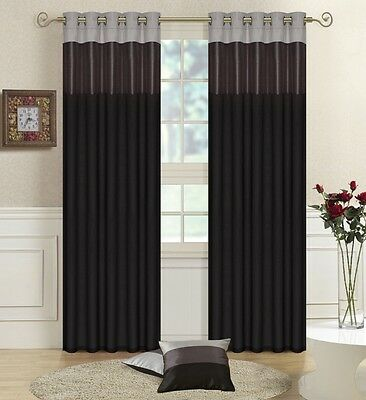 Black, Grey,Silver Faux Silk THREE TONE Fully Lined CURTAINS Eyelet / Ring Top  • 19.95£