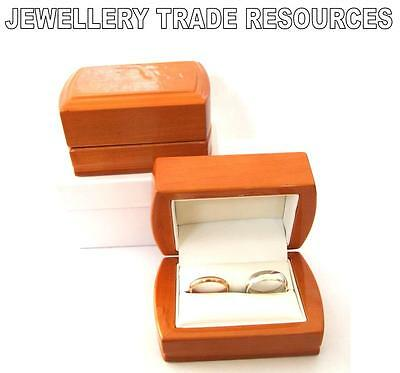 New Luxury Wooden Jewellery Double Wood Ring Box Best Man Wedding For Two Rings • 6.99£