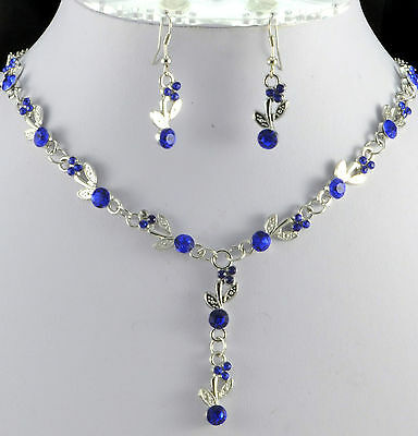 £3.99 • Buy Silver Tone Royal Blue  Crystal  Necklace And  Earrings Set