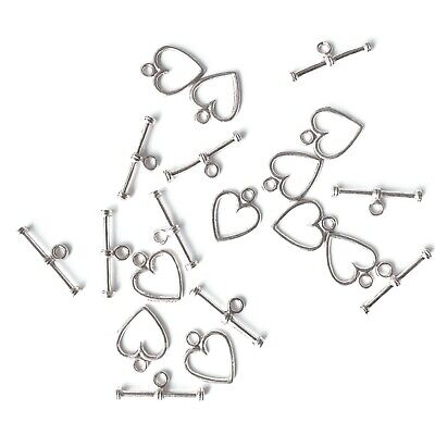 BUY 3 GET 3 FREE 10 Sets Plated Metal Silver Heart Alloy Toggles Clasps - A6507 • 1.99£