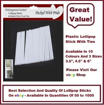 £2.23 • Buy 50 White Plastic (3.5 ) Lollipop Sticks / Cake Pops / Sweets / Lollies / Crafts