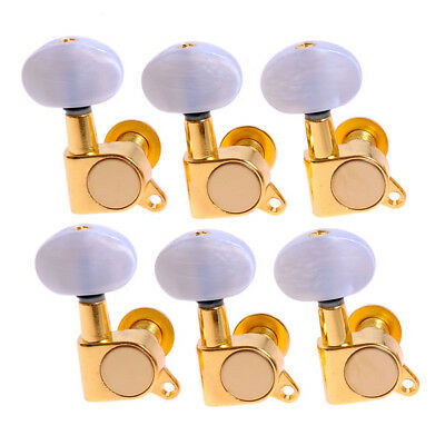 $14.99 • Buy 6R Acoustic Guitar String Tuning Pegs Tuners Keys Machine Heads Gold White Head