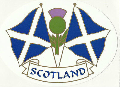Scotland Saltire Twin Flags Oval External Car Bumper Sticker Decal • 5.35£