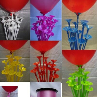 £4.85 • Buy Party Balloon Sticks And Cups No Helium Choose 7 Colour & Quantity Birthday