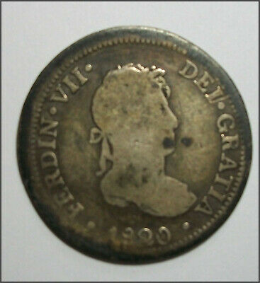$ CDN42.18 • Buy 2 Reales 1820 FERDIN VII DEI GRATIA HISPAN    COLONIAL SPAIN Free U.S.Ship