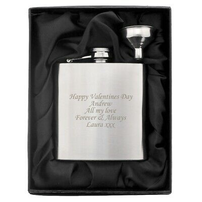 £7.99 • Buy Personalised Engraved Stainless Steel 6oz Hip Flask,Funnel And Moulded Gift Box