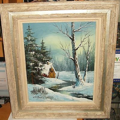 $ CDN362.85 • Buy Cantrell Original Oil On Canvas Winter Snow River Barn Landscape Painting