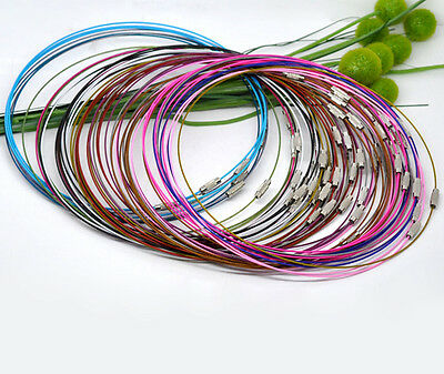 10 Memory Wire Chokers Mixed Colours 18  Necklaces Chains Wire J12601M • 3.19£