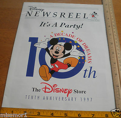 Disney Employees Magazine Newsreel 1997 Disney Store 10th Anniversary Invitation • 10.72£
