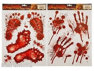 Halloween Window Stickers Decoration Scary Blood Hand Party Bloody Red Decals It • 2.49£