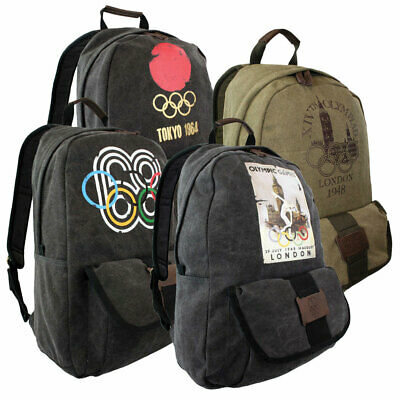 High Quality Olympic Games Vintage Canvas Rucksack Bag Backpack Daysac Travel • 4.99£