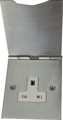 Mk Albany Plus Matt Chrome Floor Mounted 1 Gang Socket Hinged Cover 741 Mco • 26.99£