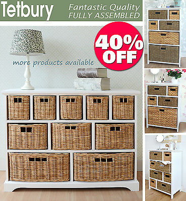 Large White Basket Storage Unit,Wicker Drawers,Hallway, Kitchen,Bathroom Storage • 264.99£