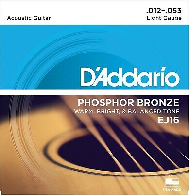 AU16 • Buy DAddario EJ16 Phosphor Bronze Acoustic Guitar Strings 12-53  - New