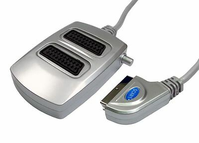 Gc433 - 2way Silver Switched Scart Splitter Box Nickel Plug • 8.69£
