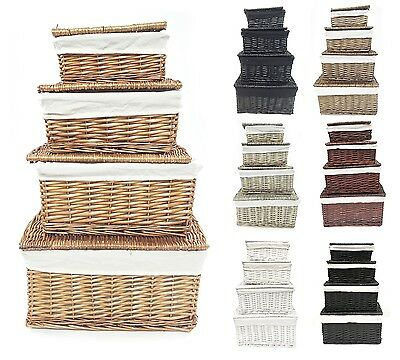 Black White Grey Lidded Wicker Storage Toy Box Empty Xmas Hamper Basket Lining • 11.99£