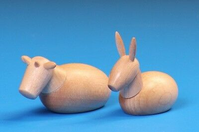 Wooden Nativity Scene Figures, The Ox And Donkey 12cm Pair.  • 24.99£