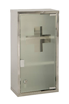 Wall Mounted Lockable 2 Keys Large Medicine Cabinet First Aid Box Glass Door  • 24.99£