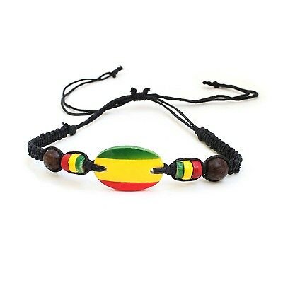 $7.99 • Buy Rasta Emblem Colors Leather Wood Bead Wrist Bracelet Hippie Reggae Marley RGY