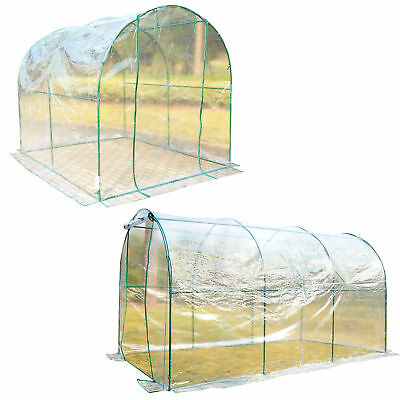 Transparent Polytunnel Greenhouse Poly Tunnel Green House Steel Frame PVC Cover • 59.99£