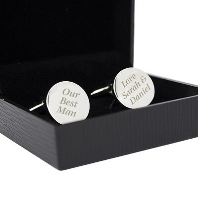 £6.99 • Buy Personalised Silver Finished Round Cufflinks-Engraved Free-Fathers Day, Wedding