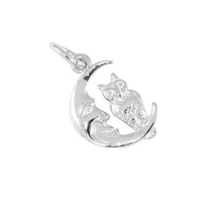 £8.85 • Buy TheCharmWorks 925 Sterling Silver Owl In Moon Charm