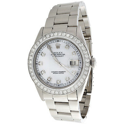 $ CDN6645.94 • Buy Mens Rolex 36mm DateJust Diamond Watch Oyster Steel Band White MOP Dial 2 CT.