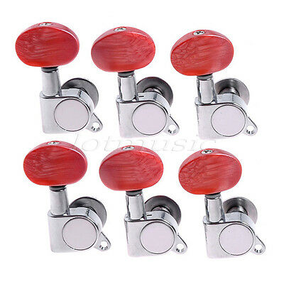 $ CDN21.18 • Buy 6R Guitar String Inline Tuning Pegs Tuners Machine Heads Amber Red Button Chrome