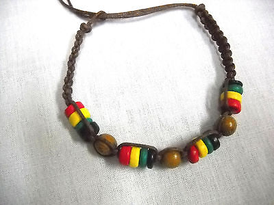 $3.29 • Buy Reggae Chocolate Brown Macrame Rasta Wooden Beads Tie On Bracelet Ankle Bracelet