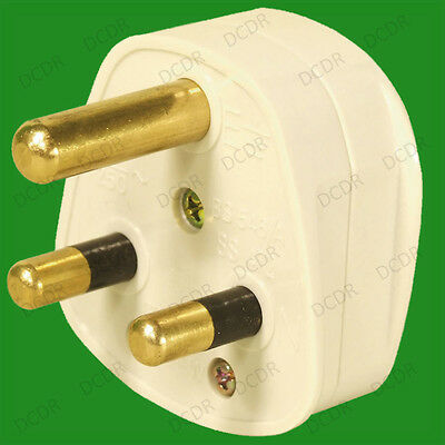 15A White Round 3 Pin Mains Plug, BS546/A 15 Amp, For Stage & Theatre Lighting • 3.99£