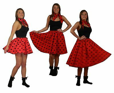 Red With Black Polka Dot Spotty Rock N Roll Skirt & Scarf Set • 10.95£