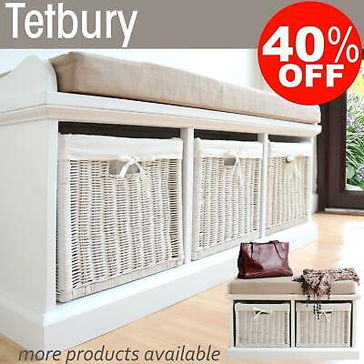 TETBURY White Bench With Storage Baskets.Hallway Storage Bench, 2 Sizes QUALITY • 219.99£