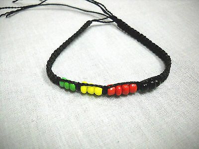 $3.29 • Buy BLACK CORD MACRAME WEAVE W RASTA BEADS RED GREEN YELLOW TIE BRACELET OR ANKLET