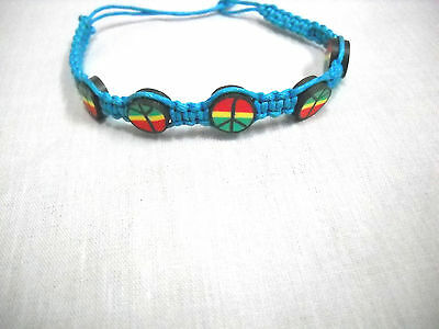 $3.29 • Buy TURQUOISE BLUE MACRAME W RASTA COLOR PEACE SIGN BEADS REGGAE TIE BRACELET ANKLET