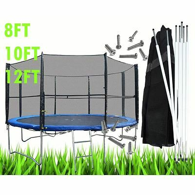 £87.45 • Buy 8 10 12 14FT Replacement Trampoline Safety Net Surround Set With Poles And Clips