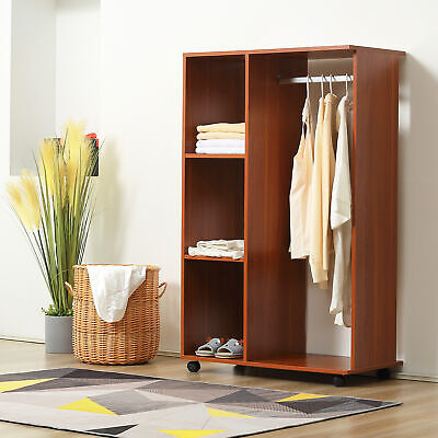 £41.99 • Buy Single Mobile Open Wardrobe Storage Shelves Organizer With Clothes Hanging Rail