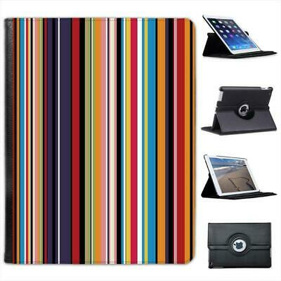 £9.99 • Buy Modern Stripes Brown Cream Folio Wallet Leather Case For IPad 2, 3 & 4